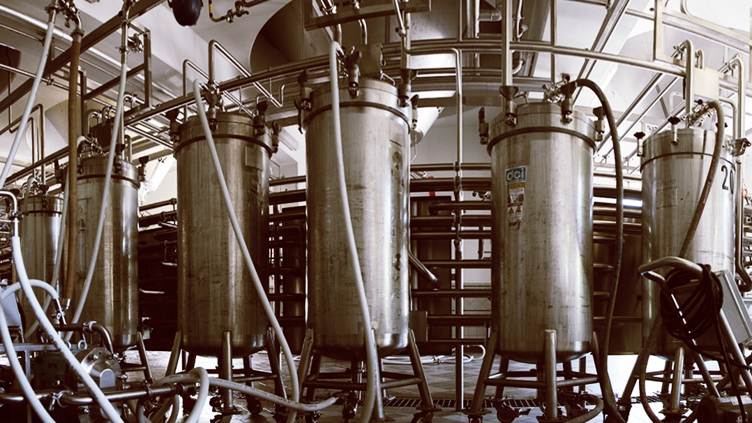 Several Hop Torpedoes connected to fermentation tanks at Sierra Nevada Brewing Co.