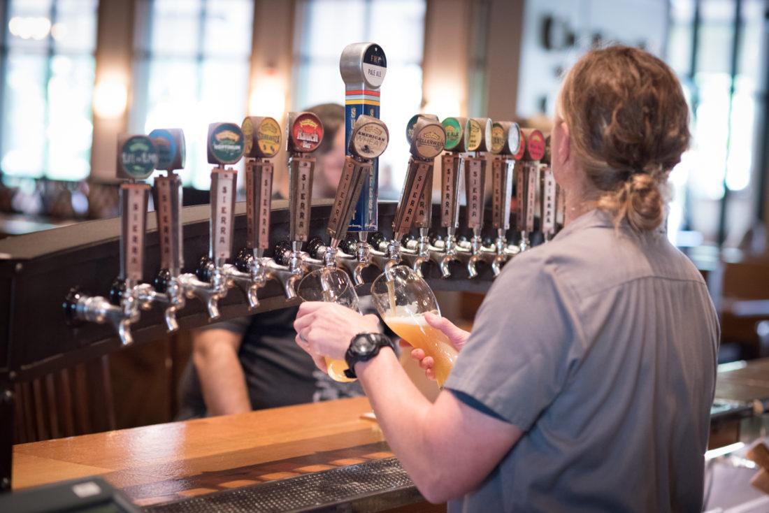 Beer on tap at the Sierra Nevada Mills River brewery