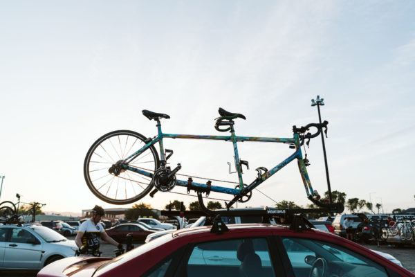 Tandem bicycle on a car roof rack