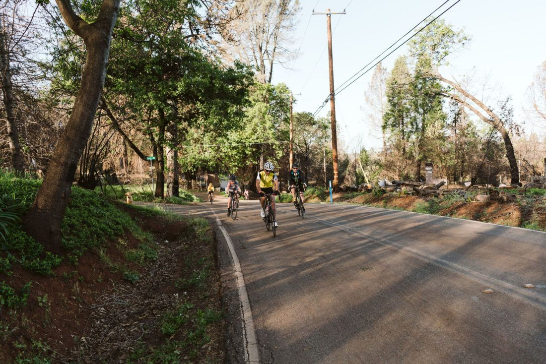 Cyclists climbing Honey Run Road near Paradise, California