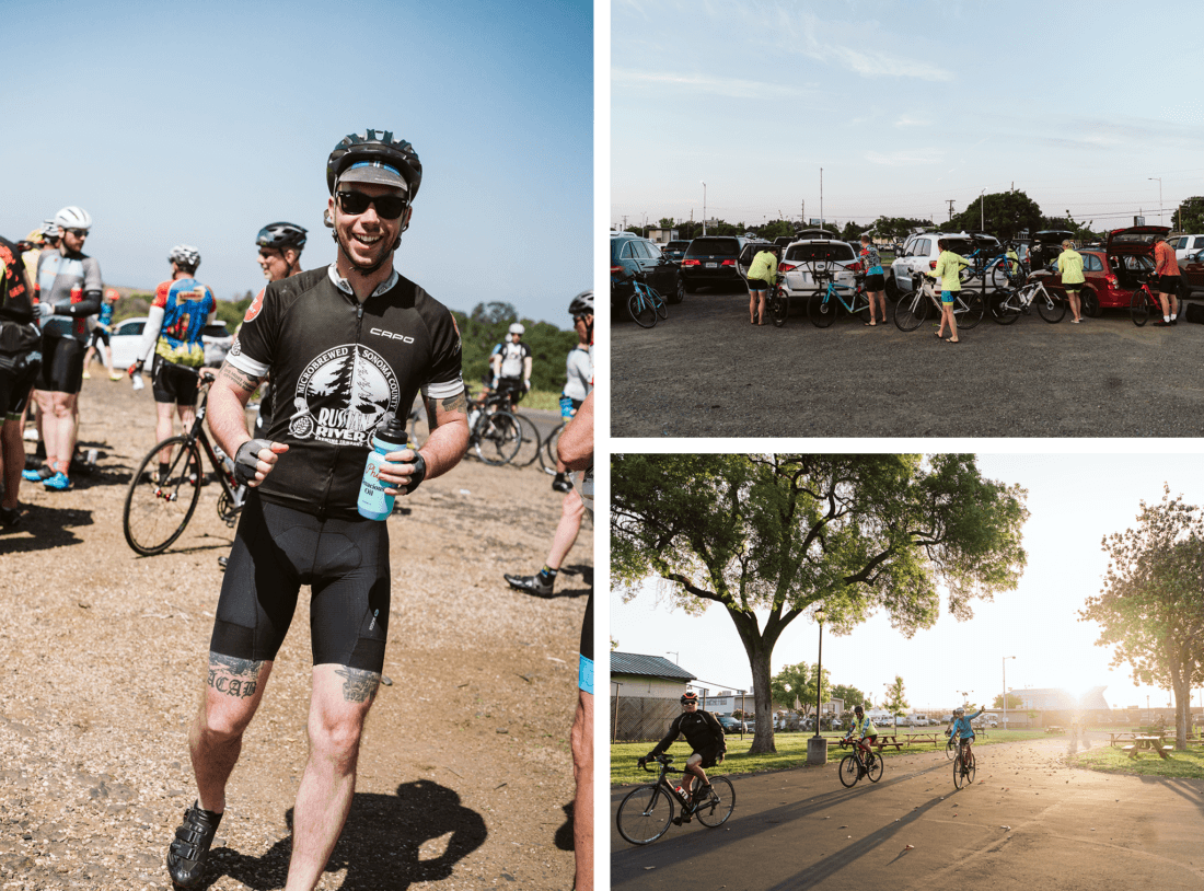 Collage of cyclists participating in the Chico Wildflower