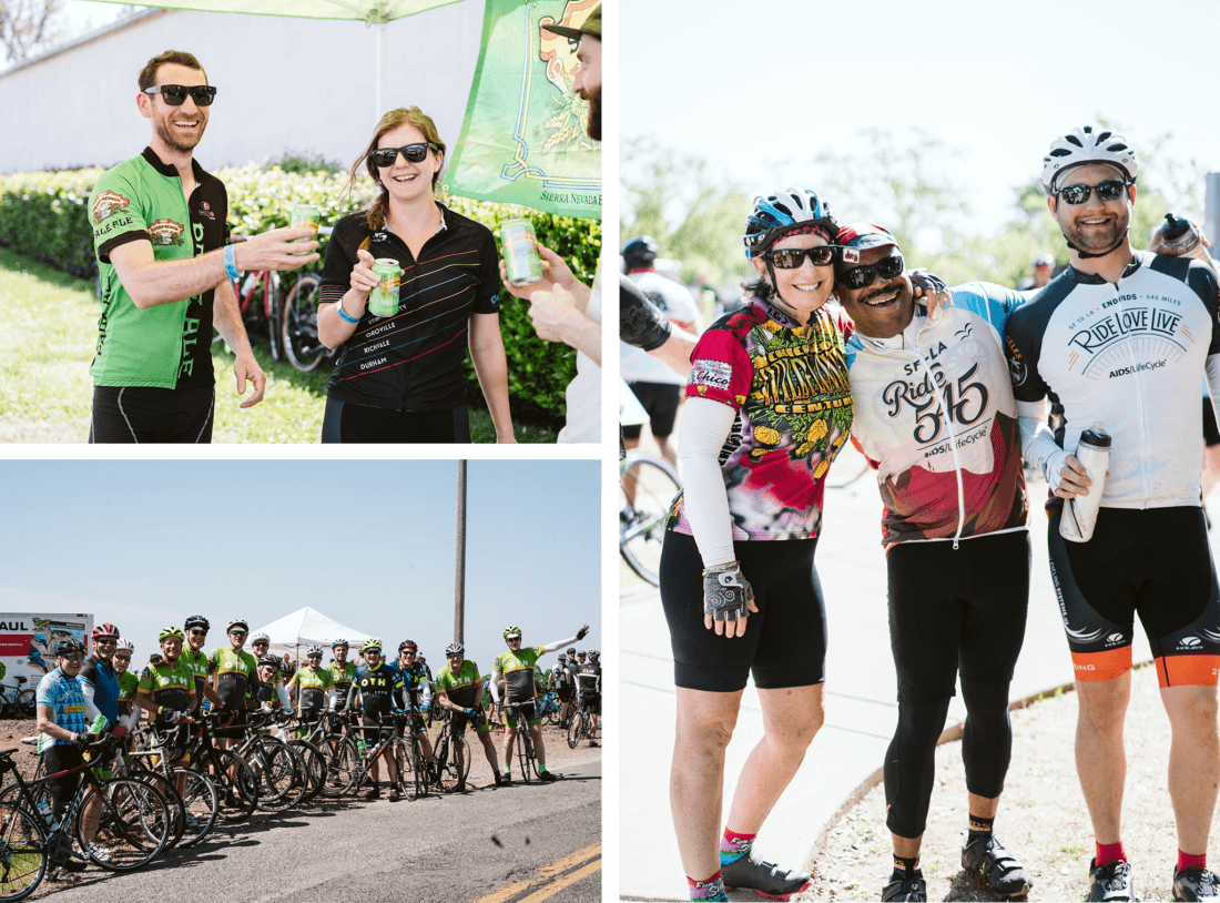 Collage of different cyclists posing during the Chico Wildflower
