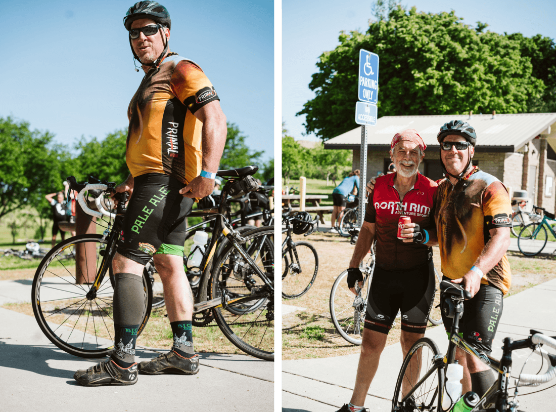 Cyclists posing at a rest stop during the Chico Wildflower