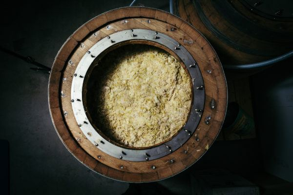Overhead view of sauerkraut inside a beer barrel
