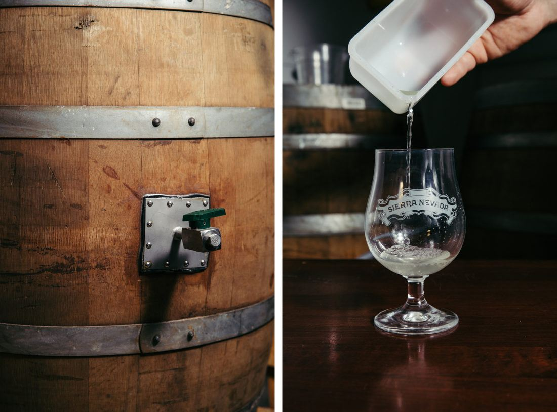 Side-by-side photos of a beer barrel and pouring sauerkraut juice into a glass