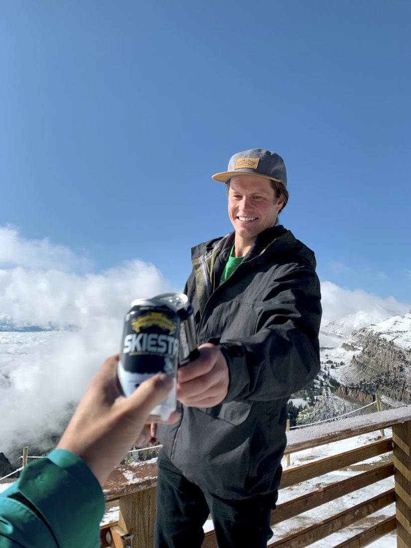Cheers with Skiesta on mountain top