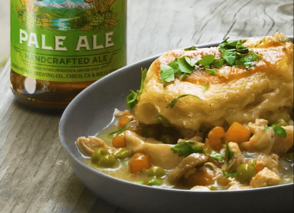 Chicken pot pie next to Sierra Nevada Pale Ale