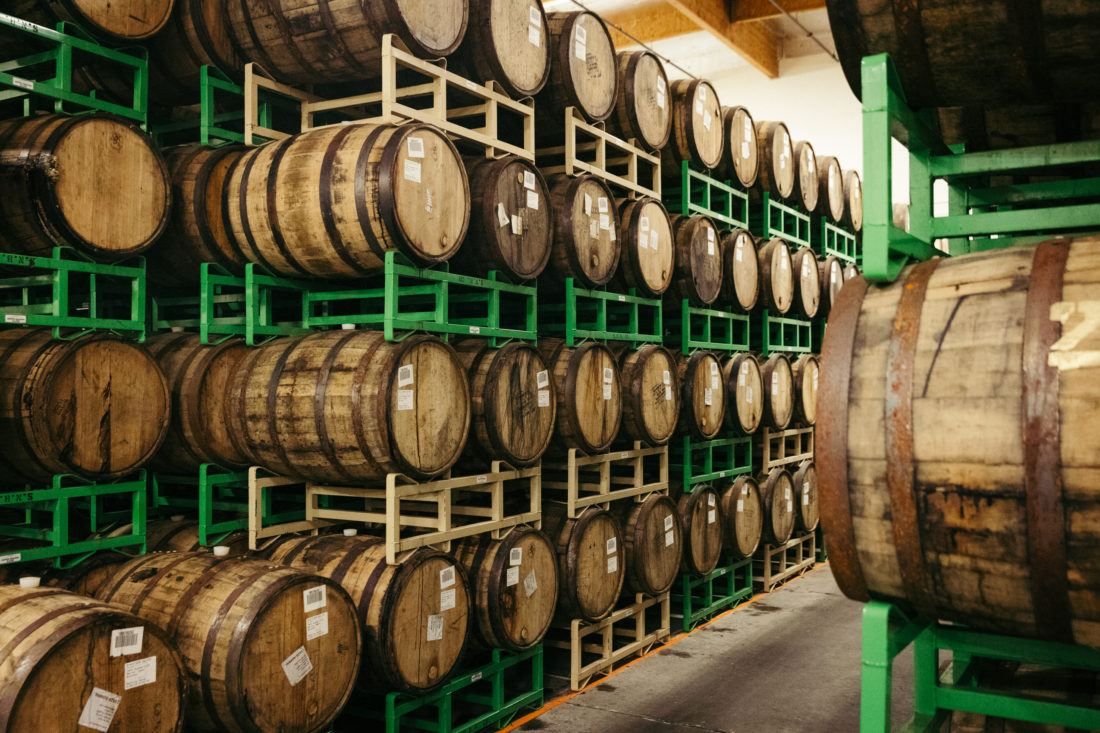 Stacks of barrel aged beer in wooden barrels at Sierra Nevada Brewing Company