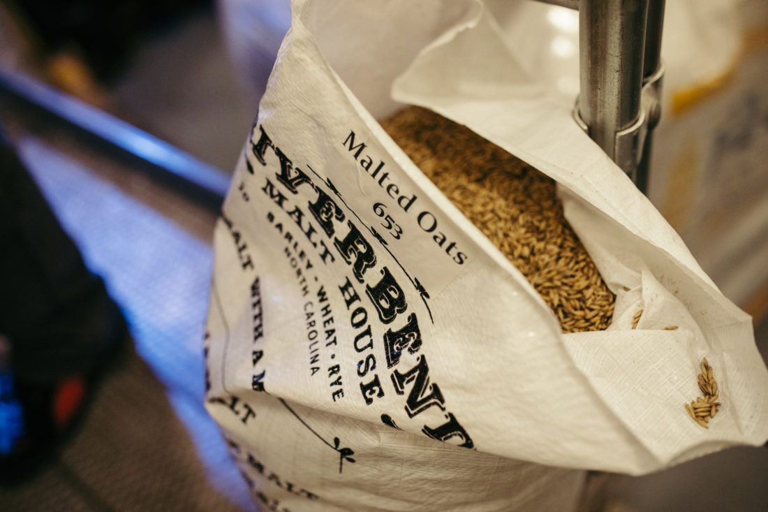 Open bag of malted oats from Riverbend Malt House