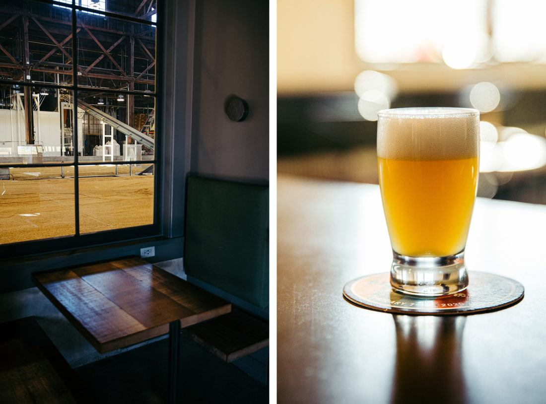 Booth seat and glass of beer at The Rake