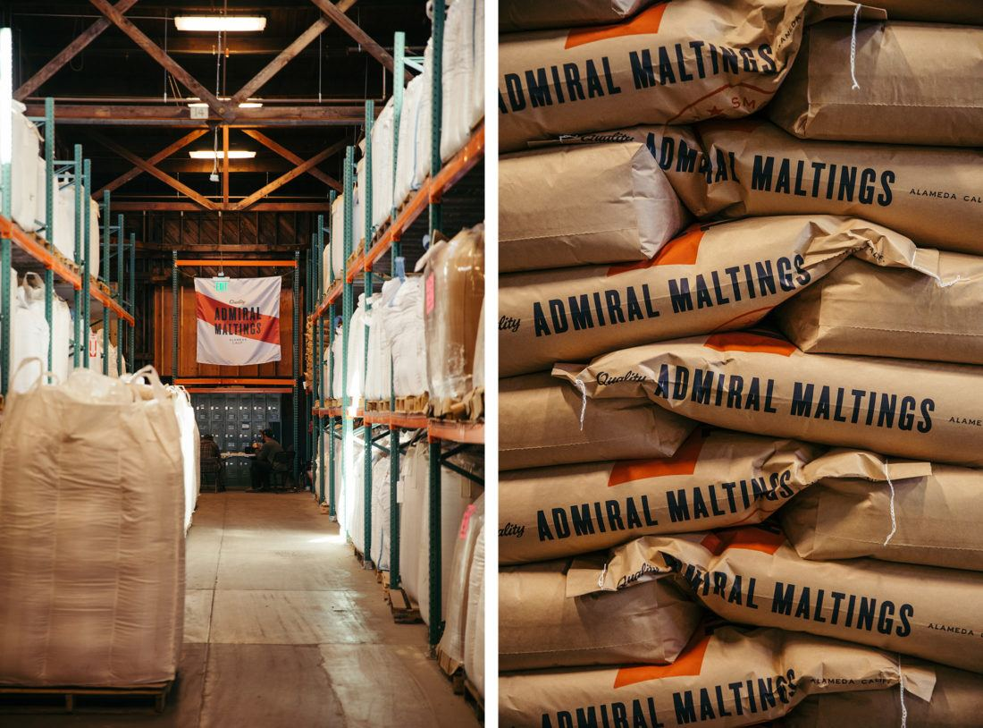 Bags of packaged craft malt at Admiral Maltings