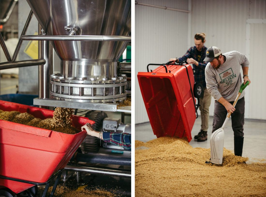 Spreading oats on the floor at Riverbend Malt House