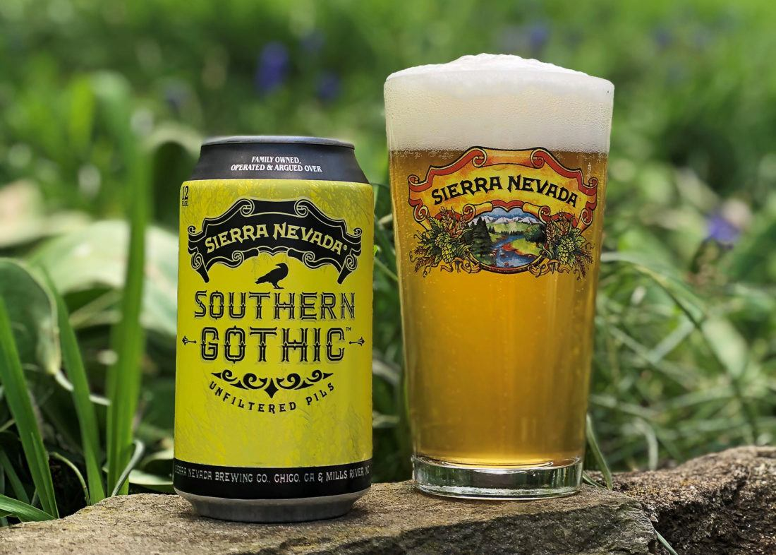 Can and full glass of Sierra Nevada Southern Gothic Pilsner