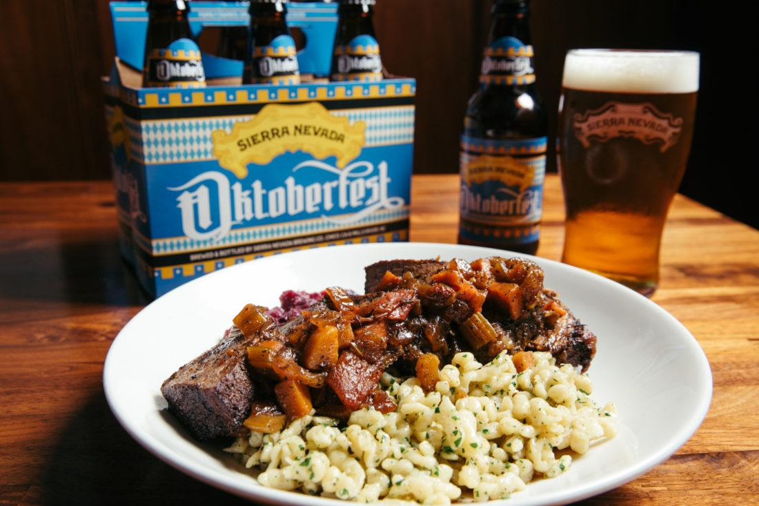 Plate of pot roast with Sierra Nevada Oktoberfest beer