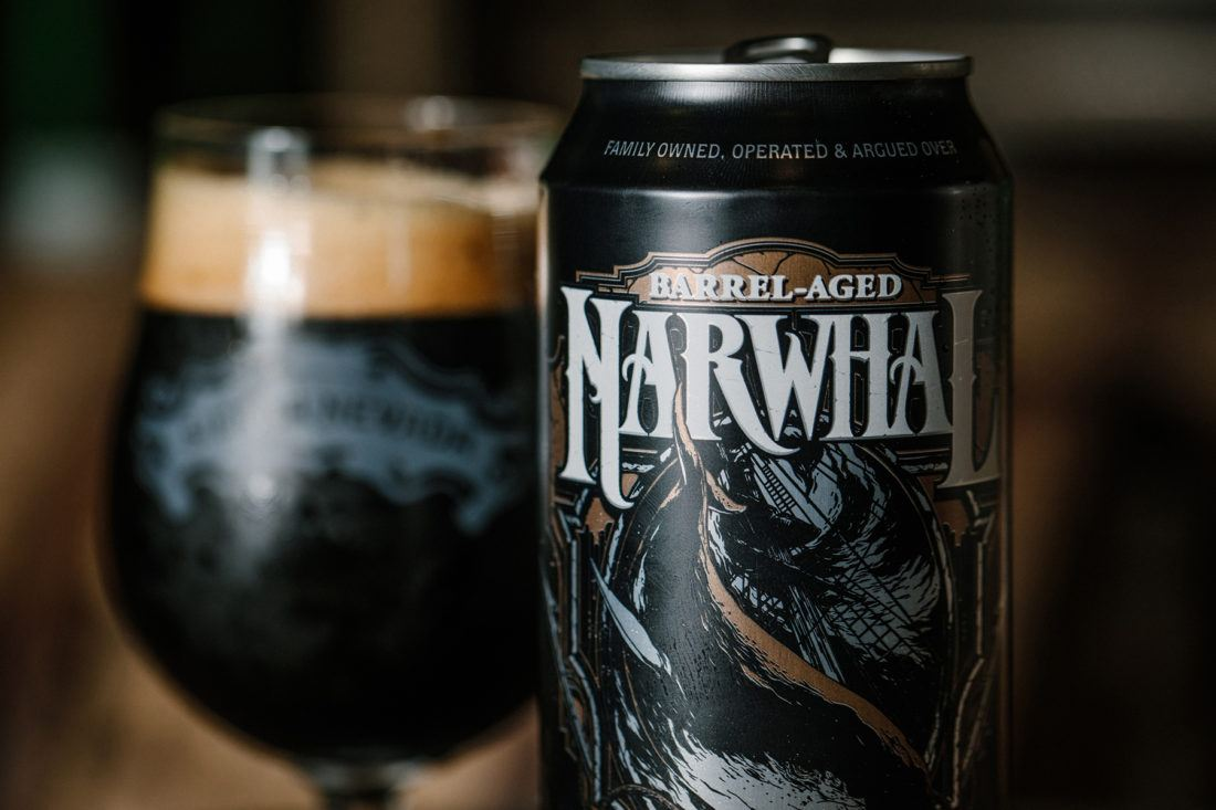 A can and glass of Barrel-Aged Narwhal Imperial Stout