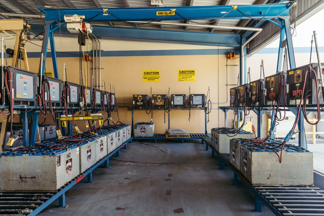 A charging station for forklift batteries at Sierra Nevada Brewing Company in Chico, California
