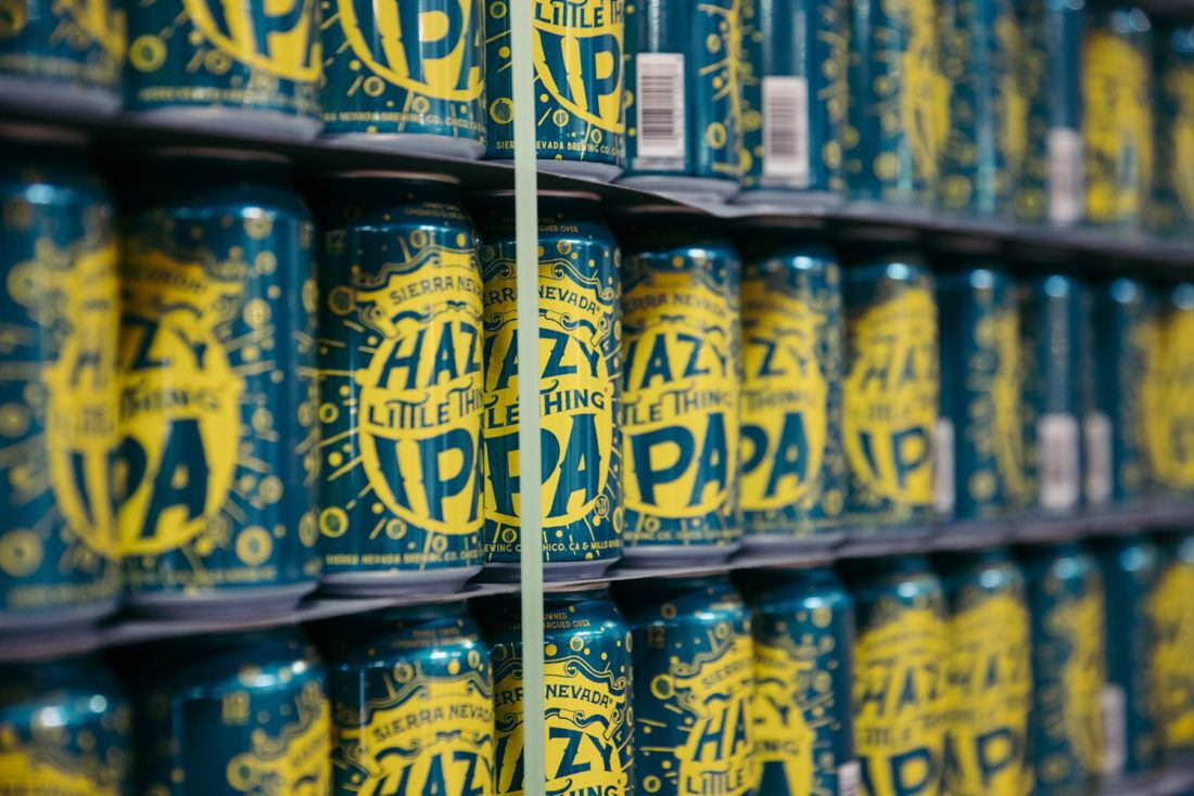 A stack of Hazy Little Thing IPA cans