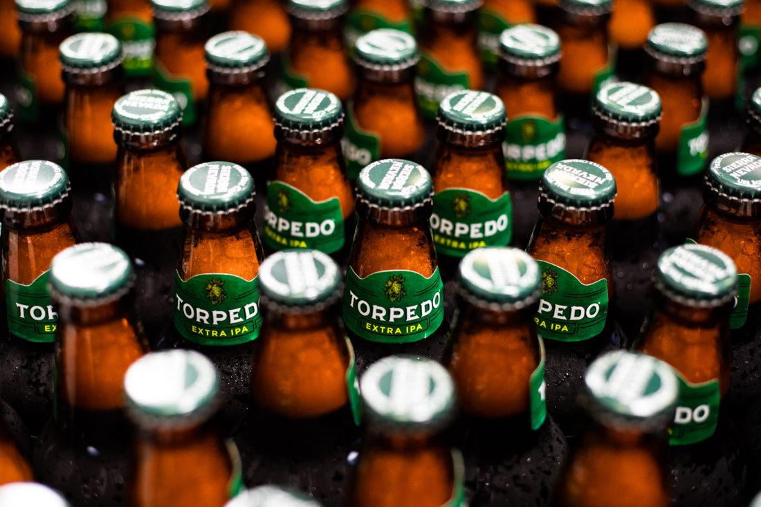 Dozens of bottles of Torpedo IPA on the packaging line at Sierra Nevada Brewing Company