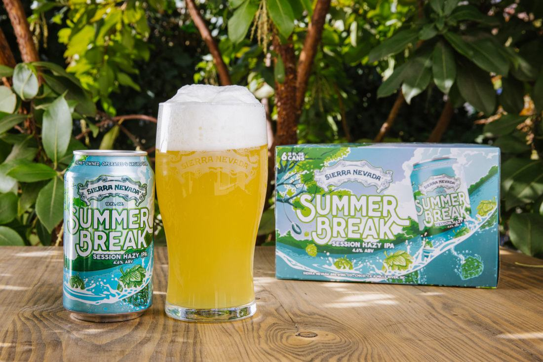A can of Sierra Nevada Summer Break IPA next to a full glass of beer.