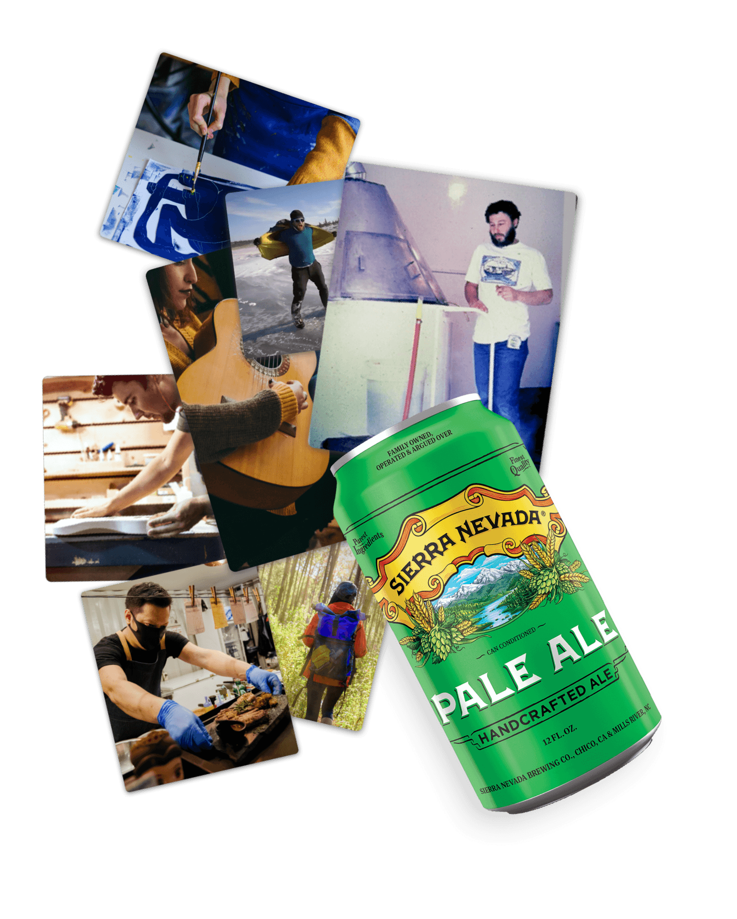 Collage of 4 images with can of  pale ale