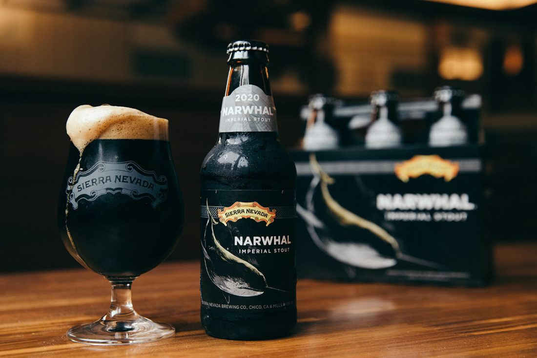 A bottle and full glass of Narwhal Imperial Stout