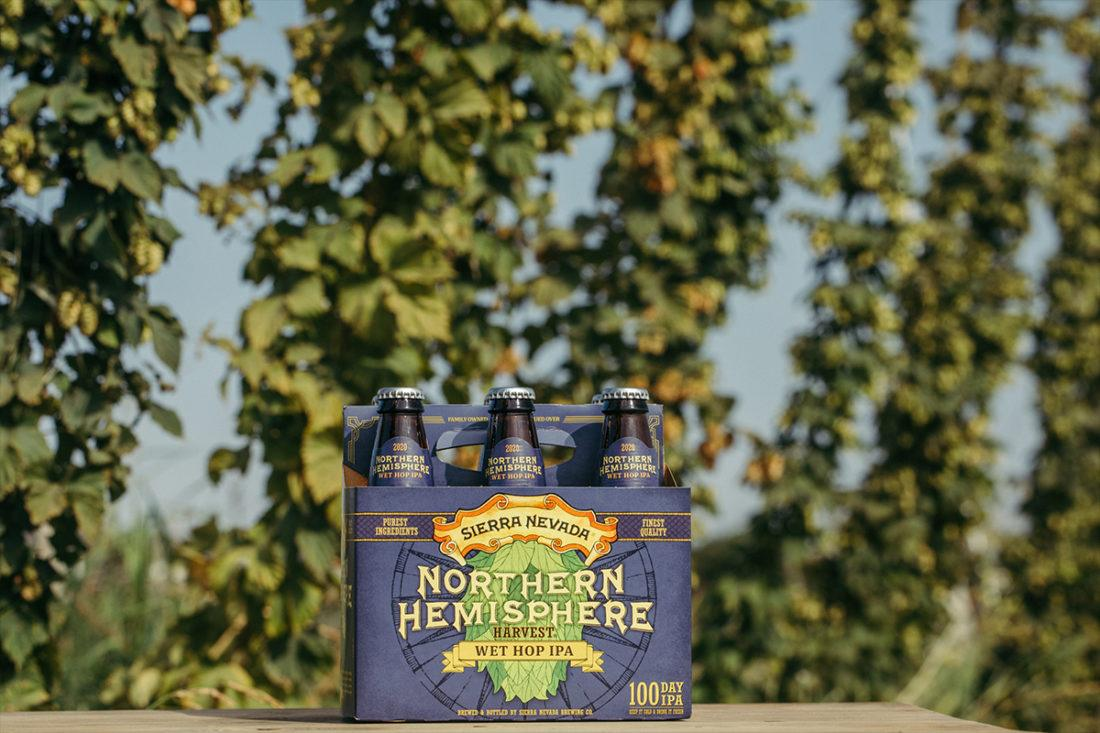 Six-pack of Northern Hemisphere Harvest IPA in front of a hop field