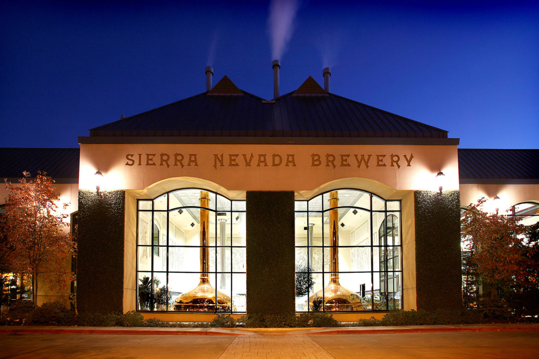 Nighttime view of Sierra Nevada Brewing Co. in Chico, California