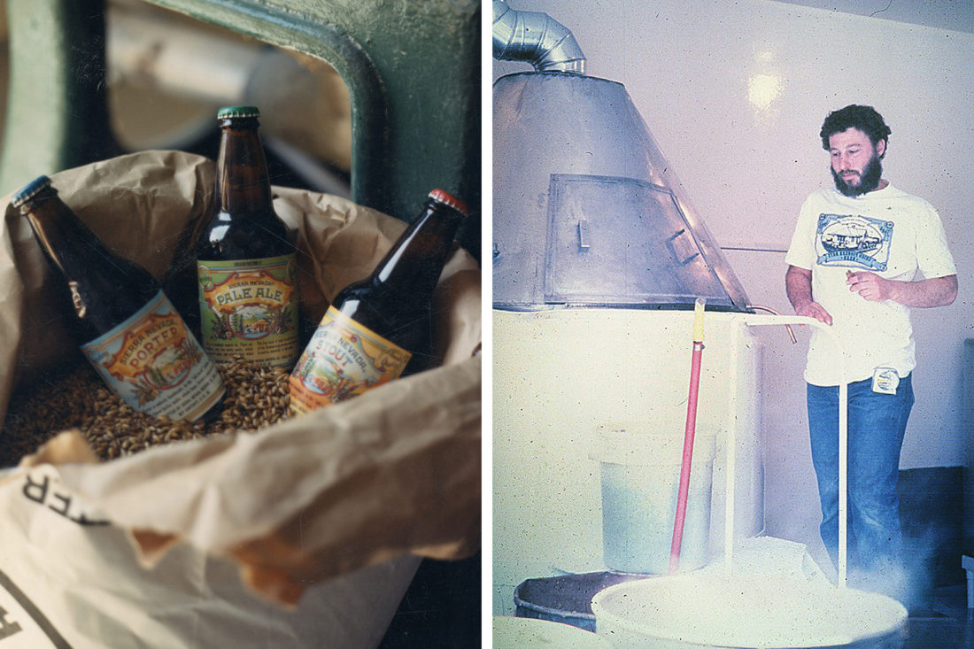 Three bottles of Sierra Nevada beer from the 1980s and brewery founder Ken Grossman